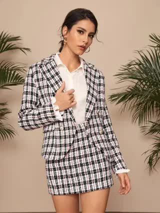 WOMEN Plaid Print Double Breasted Lapel Collar Tweed Blazer With Skirt
