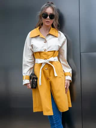 WOMEN D&M Two Tone Belted Trench Coat