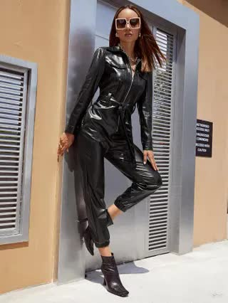 WOMEN Zipper Front Belted PU Leather Jumpsuit