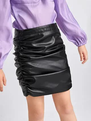 KIDS Girls Ruched PU Leather Skirt