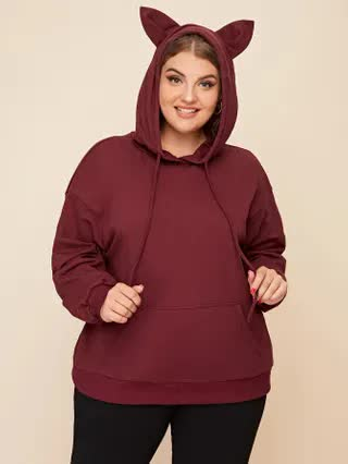 WOMEN Plus Drop Shoulder Kangaroo Pocket Ears Hoodie