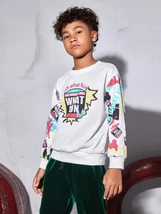 KIDS Boys Slogan & Graphic Print Pullover
