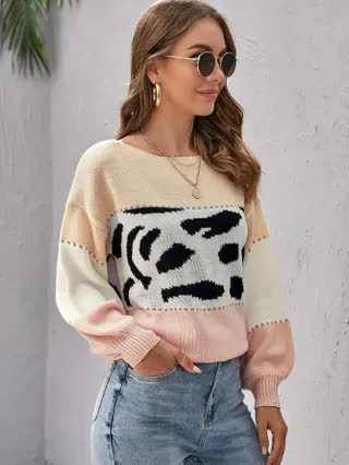 WOMEN Drop Shoulder Color Block Sweater