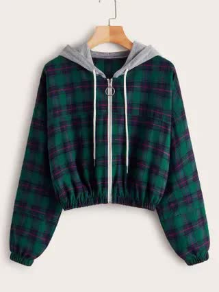 WOMEN Plus Tartan Zip Up Contrast Hooded Jacket