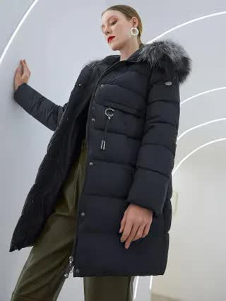WOMEN Simplee Zip Up Faux Fur Hooded Puffer Coat