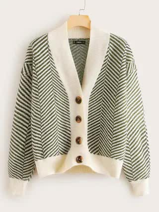 WOMEN Button Up Striped Sweater Coat
