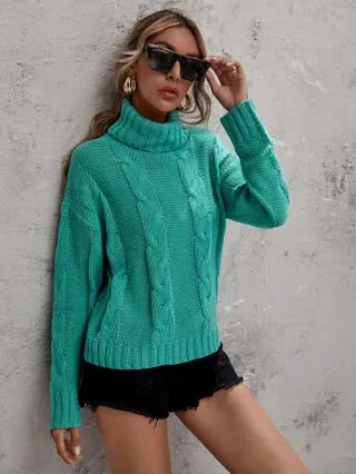 WOMEN Solid Turtleneck Cable Knit Sweater