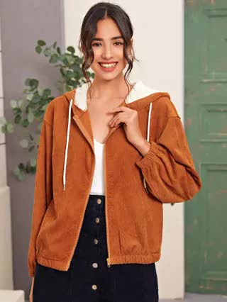 WOMEN Corduroy Contrast Plush Lined Hooded Jacket