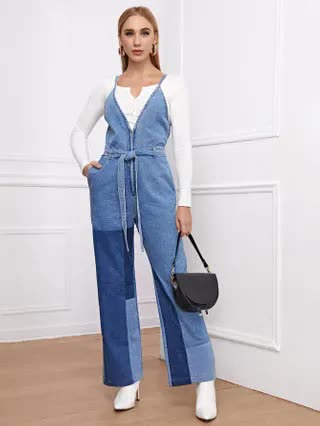 WOMEN Color Block Zip Front Belted Denim Jumpsuit