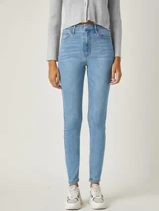 WOMEN BLUES Middle-Waisted Power Skinny Jeans