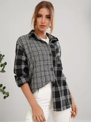 WOMEN Plaid Pocket Front Button Up Tweed Coat