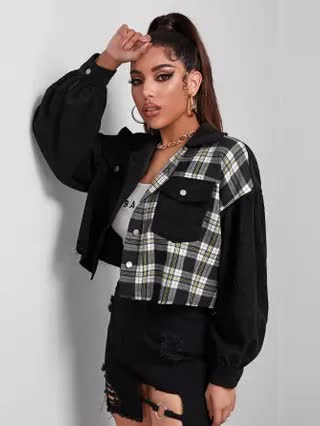 WOMEN Single Breasted Pocket Front Plaid Panel Cord Jacket