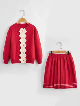 KIDS Girls Contrast Panel Button Through Cardigan & Striped Knit Skirt