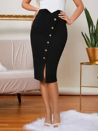 WOMEN Button Front Solid Skirt