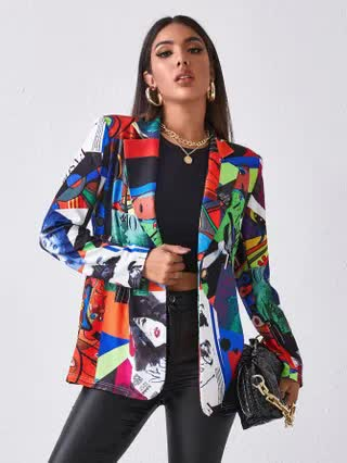 WOMEN Letter and Figure Mixed Print Blazer