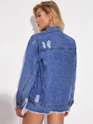 WOMEN Ripped Button Up Denim Trucker Jacket