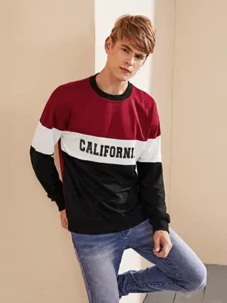 MEN Men Color-block Letter Graphic Sweatshirt