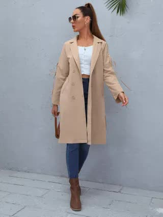 WOMEN Double Breasted Knot Sleeve Belted Trench Coat