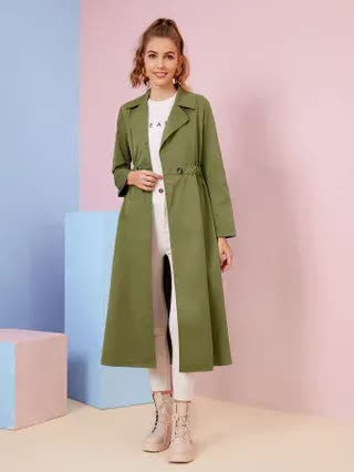 WOMEN Solid Button Lapel Collar Trench Coat