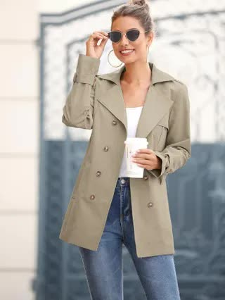 WOMEN Solid Double Breasted Belted Trench Coat