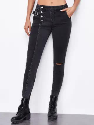 WOMEN Button Fly Ripped Skinny Jeans