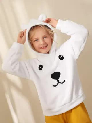 KIDS Girls Animal Embroidered Teddy Hoodie With 3D Ears Design