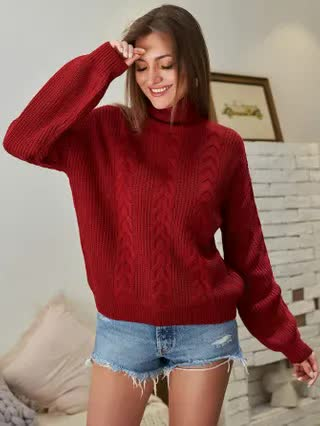 WOMEN Kate Kasin Drop Shoulder Turtle Neck Sweater