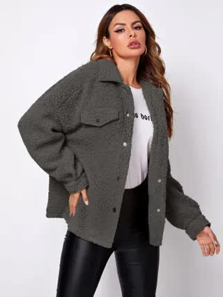WOMEN Press Button Drop Shoulder Teddy Coat