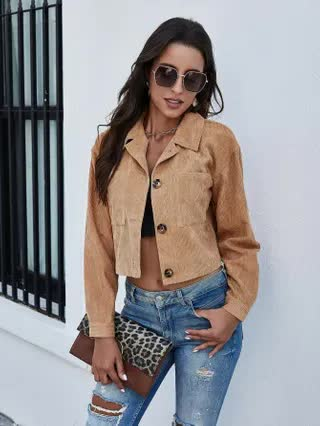 WOMEN Corduroy Pocket Patched Button Up Jacket