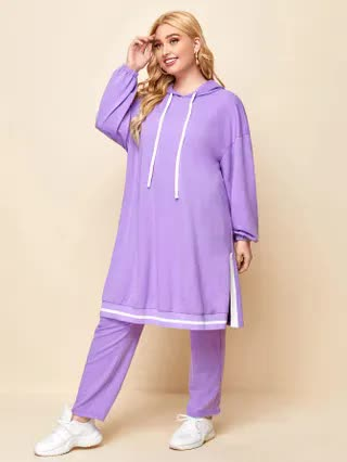 WOMEN Plus Drop Shoulder Split Side Striped Hem Hoodie & Sweatpants Set