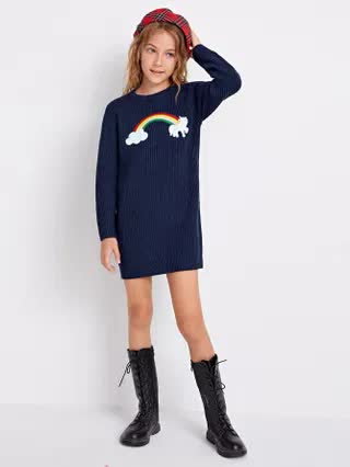KIDS Girls Rainbow Patched Ribbed Knit Sweater Dress