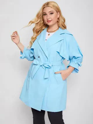WOMEN Plus Double Button Belted Trench Coat
