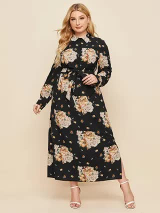 WOMEN Plus Floral Print Button Belted Split Hem Shirt Dress