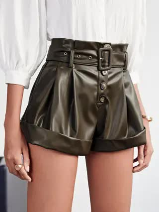 WOMEN Buckle Belted Cuffed PU Leather Shorts