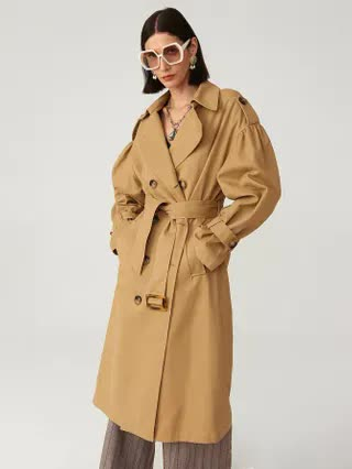 WOMEN PREMIUM Cotton Oversized Belted Long Trench Coat