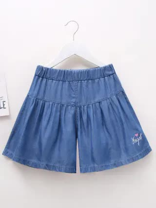 KIDS Girls Letter Embroidery Denim Shorts