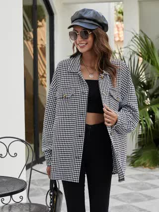 WOMEN Houndstooth Flap Pocket Button Up Coat