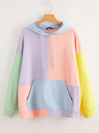 WOMEN Plus Drop Shoulder Colorblock Oversized Hoodie