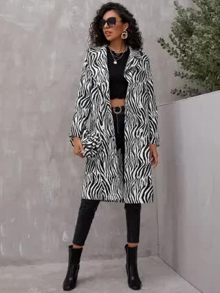 WOMEN Zebra Striped Double Breasted Coat