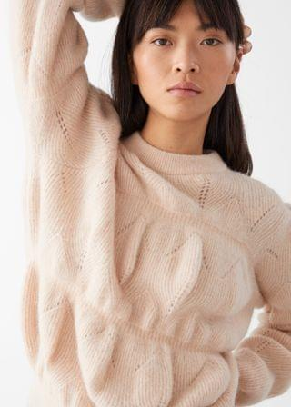 WOMEN Relaxed Fuzzy Bubble Knit Sweater