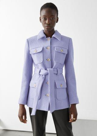 WOMEN Belted Button Up Wool Jacket