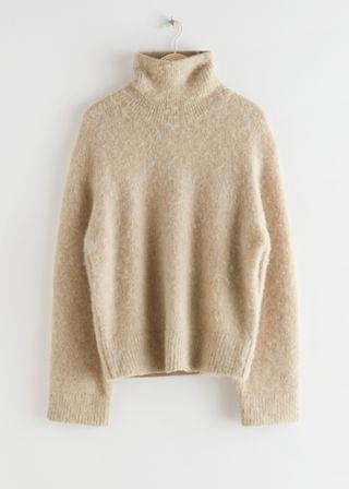WOMEN Oversized Alpaca Blend Turtleneck Knit Sweater