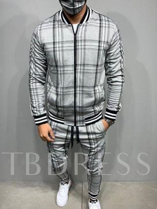 MEN Plaid European Jacket Patchwork Long Sleeves Fall Men's Outfit