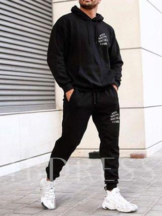 MEN Letter Print European Hoodie Fall Men's Outfit