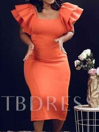 WOMEN Short Sleeve Square Neck Pleated Mid-Calf Office Lady Women's Dress