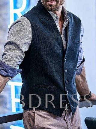 MEN Fashion Stand Collar Plain Single-Breasted Men's Waistcoat