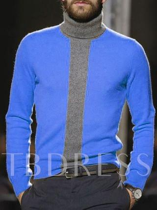 MEN Standard Patchwork Color Block Turtleneck Fall Men's Sweater