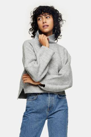 WOMEN Grey Marl Cropped Funnel Neck Knitted Sweater