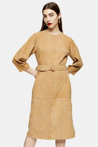 WOMEN Tan Real Suede Belted Midi Dress