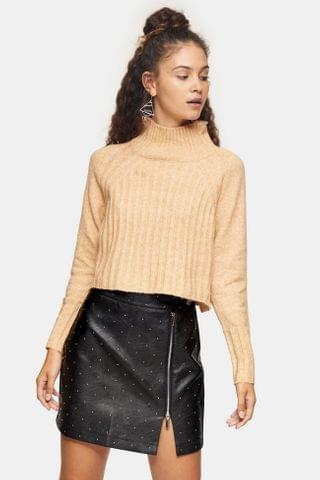 WOMEN Camel Ribbed Cropped Funnel Neck Knitted Sweater